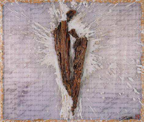 EINANDER ZUGENEIGT; Borkenkäferholz, Blattgold, Plexiglas, Papier, Acryl, 77x90x7,5 cm