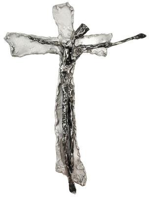 AM METALLKREUZ II; Geschmiedetes Eisen auf Aluminium, 59x44x5 cm