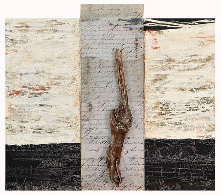 GEDANKEN SIND DER ATEM DER SEELE; Schwemmholz, Plexiglas, Sand, Papier und Acryl auf Leinwand, 102x115 cm