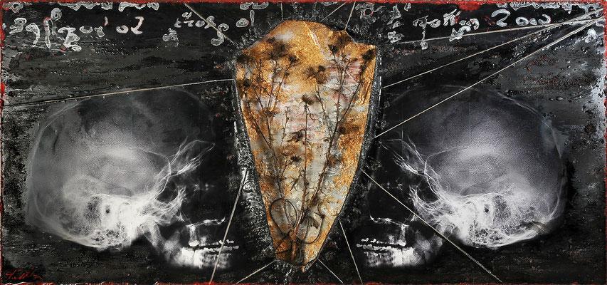 DIE WAHRHEIT KOMMT ZULETZT, HERANHINKEND AM ARM DER ZEIT; 88x188x7 cm, Silberdisteln, Blattgold, Lavasand, Harz, Schnüre, Acryl und Röntgenbilder auf Lattenrost