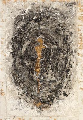 MENSCHWERDUNG; Papier, Blattgold und Kohle auf Leinwand,  95x65 cm