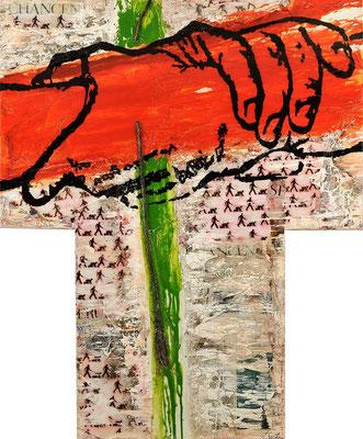 SEILSCHAFTEN; Mischtechnik auf Leinwand, 115x95 cm