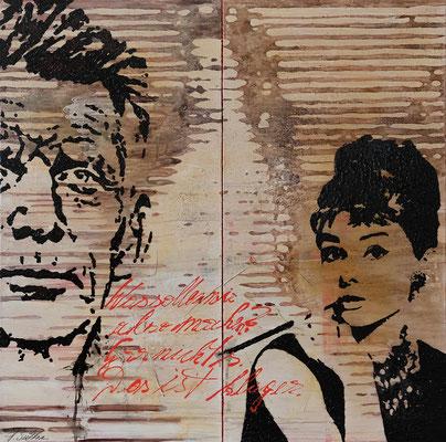SISI, AUDREY UND MR. BECKETT, Mischtechnik auf Leinwand, 150x150 cm