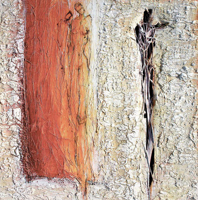 IN DER LEBENSGLUT II; Mischtechnik auf Leinwand, 105x105 cm