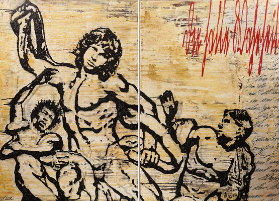 DIE HALBE WAHRHEIT; 2-tlg. Bild, Papier, Sand, Acryl und Harz auf Leinwand, 130x180 cm