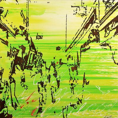 DIE BESTÄNDIGKEIT DER VERÄNDERUNG; Rost und Acryl auf Leinwand, 100x100 cm