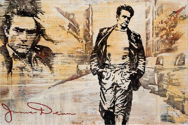 JAMES DEAN; Mischtechnik auf Leinwand, 150x225 cm