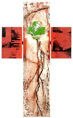 AM KREUZ III; (Wurzelkreuz) Mischtechnik, 68x41,5 cm