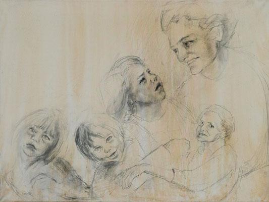 Generationen, Graphit auf Leinwand, 60x80 cm