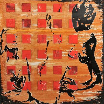 REFLEXION; Mischtechnik auf Leinwand, 105x105 cm
