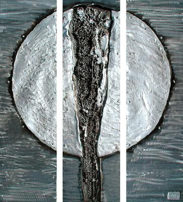 IN GLEISSENDEM LICHT; Eisen und geschmolzenes Aluminium, 105x95 cm
