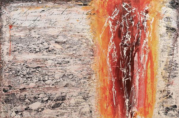AUF DEM WEG III; Mischtechnik auf Leinwand, 80x120 cm