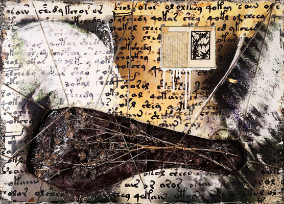 HINAUSTRETEN; Disteln, Blattgold, Papier und Acryl auf Leinwand, 90x126 cm