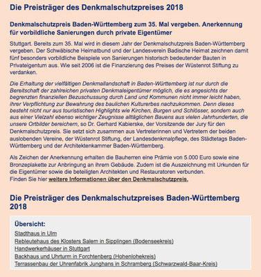 Die Preissträger des Denkmalschutzpreises Baden-Württemberg 2018 Klosterhof1595 Sipplingen Bodensee