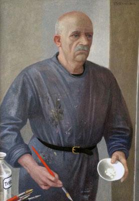 Volker Stelzmann:*Selbst (mit Schale und Pinsel)*, 2012, Mischtechnik/MDF, 100 x 70 cm