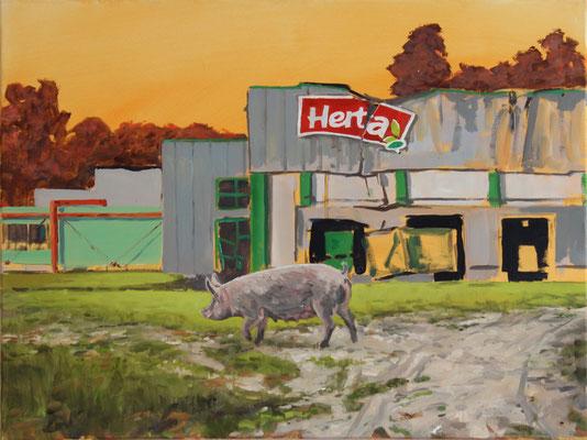 Hartmut Kiewert: *Ruine III*, 2017, Öl/Leinwand, 60 x 80 cm