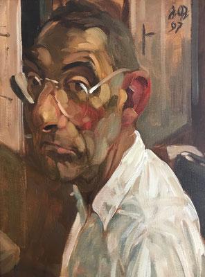 Johannes Grützke: *Selbst 22.4.1997*, Öl/Leinwand, 55 x 42 cm