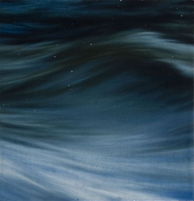 Andreas Leißner: *Wellen I*, 2014, Öl/Hartfaserplatte, 14 x 13 cm