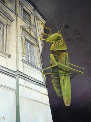 Heike Feddern: *Die Heuschrecken*, 2018, Öl/Leinwand, 120 x 90 cm