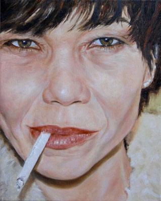 Heike Feddern: *Verbotener Augenblick*, 2008, Öl/Leinwand, 30 x 24 cm