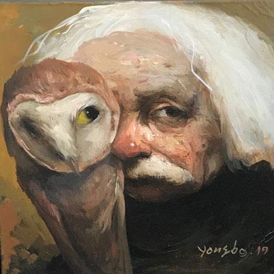 Yongbo Zhao: *Erasmus mit Eule*, 2019, Öl/Leinwand, 40 x 40 cm