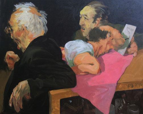 Johannes Grützke: *Drei verschiedene Wissenschaftler*, 12.3.2015, Öl/Leinwand, 80 x 100 cm