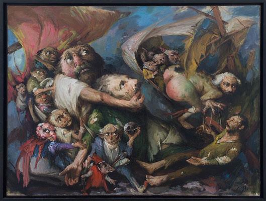 Yongbo Zhao: *Die Welt als Narrenschiff*, 2018, Öl/Leinwand, 180 x 240 cm