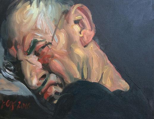 Johannes Grützke: *Selbst (Schräg über die Schulter geblickt)*, 19.2.2016, Öl/Leinwand, 40 x 50 cm