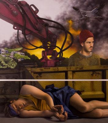 Andreas Leißner: *Warten III*, 2014, Öl/Hartfaserplatte, 135 x 78 cm