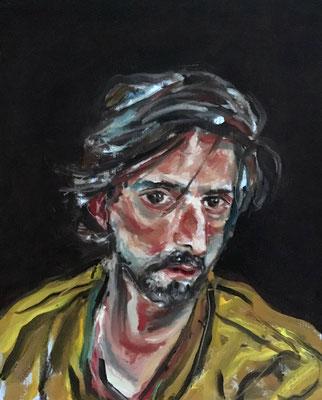 Volker Troche: *Durch den Wind* (Selbst), 8.1.2017, Öl/Leinwand, 25 x 20 cm