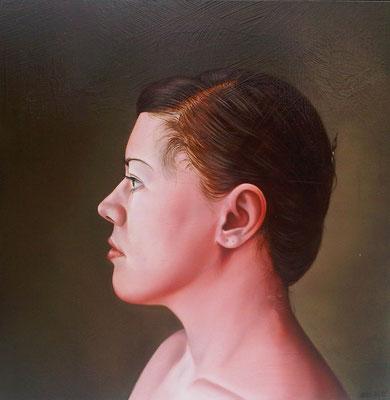 Lilli Hill: *Selbstporträt*, 2011, Öl/Leinwand, 40 x 40 cm