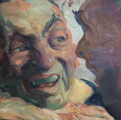 Johannes Grützke: *Wie sich zwei anschauen*, 21.11.2015, Öl/Leinwand, 40 x 40 cm