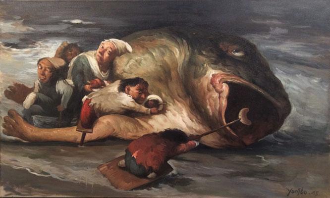Yongbo Zhao: *Seht, die Korruption gedeiht überall*, 2015, Öl/Leinwand, 90 x 150