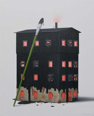 André Schulze: *Schwarzes Haus*, 2016, Öl/Leinwand, 50 x 40 cm