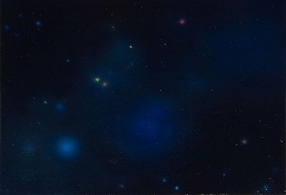 Andreas Leißner: *Weltraum I*, 2014, Öl/Hartfaserplatte, 17 x 24 cm