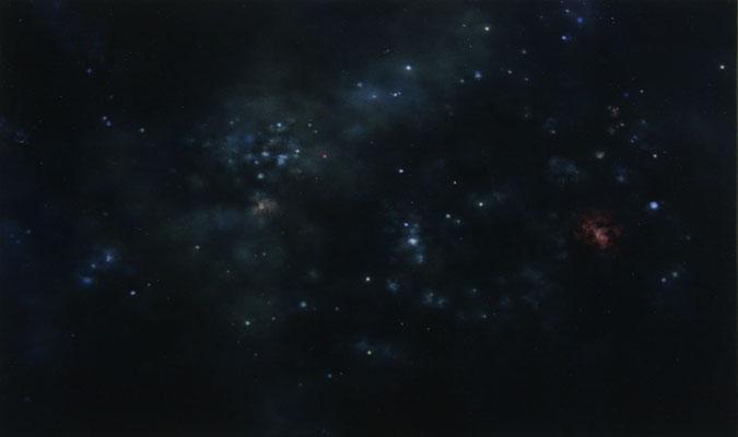 Andreas Leißner: *Weltraum II*, 2014, Öl/Hartfaserplatte, 32 x 54 cm