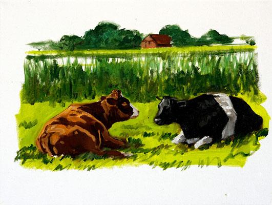 Hartmut Kiewert: *Maret und Alwine*, 2019, Öl/Leinwand, 30 x 40 cm