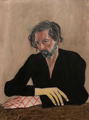 Volker Troche: *Hände & Muster* (Selbst), 20.11.2019, Öl/Holz, 23 x 18 cm
