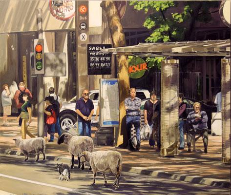 Hartmut Kiewert: *Bus stop II*, 2016, Öl/Leinwand, 160 x 190 cm