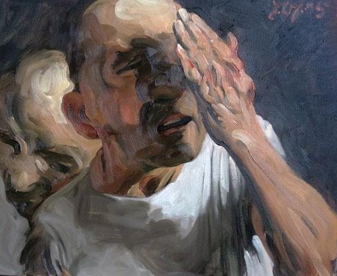 Johannes Grützke: *Selbst (Hand vor Augen)*, 14.7.2015, Öl/Leinwand, 50 x 60 cm