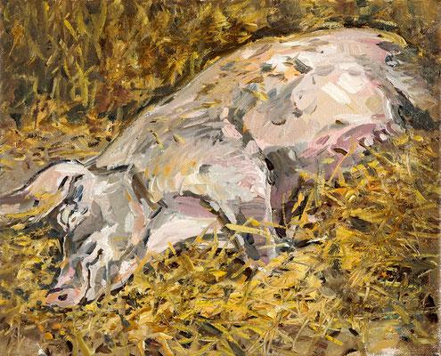 Hartmut Kiewert: *Erna II*, 2019, Öl/Leinwand, 24 x 30 cm