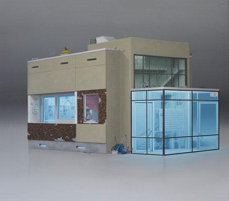 André Schulze: *Hochhaus*, 2018, Öl/Leinwand, 70 x 80 cm