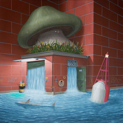 André Schulze: *Tiefe Wasser*, 2018, Öl/Leinwand, 100 x 100 cm