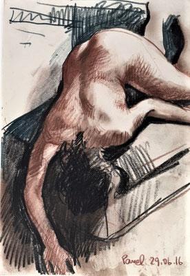 Pavel Feinstein: *Ohne Titel*, 29.06.2016, farbige Zeichnung/Papier, 30 x 21 cm