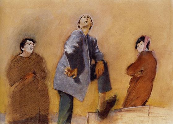 Johannes Grützke: *Bruder, wo willst du hin?*, 1967, Pastell/Papier, 52 x 74 cm
