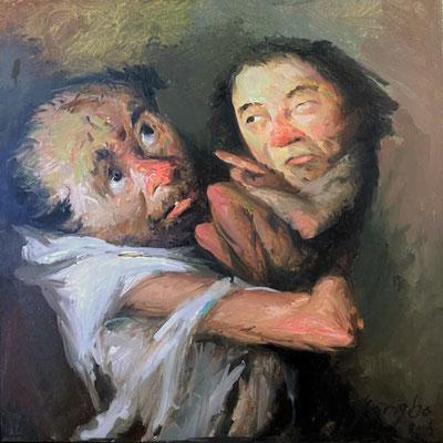 Yongbo Zhao: *Ich mach dir ein Angebot, das du nicht ablehnen kannst*, 2018, Öl/Leinwand, 50 x 50 cm
