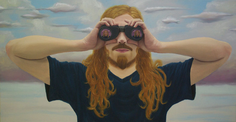 Torsten Holtz: *Drei Selbstporträts*, 2009, Öl/Leinwand, 45 x 85 cm