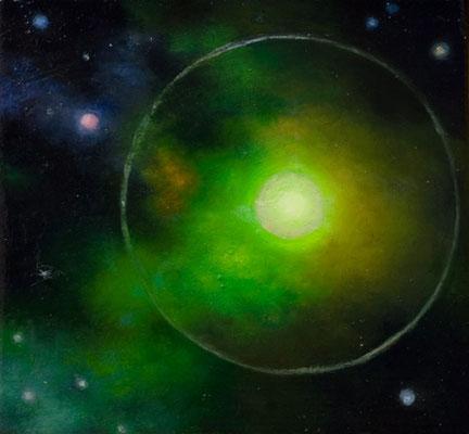 Andreas Leißner: *Weltraum IV*, 2016, Öl/Hartfaserplatte, 13 x 14 cm
