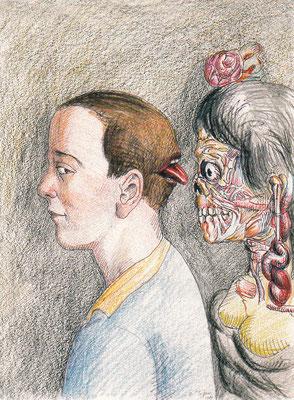 Roland Topor: *L'homme et la mort* (Der Mensch und der Tod), 1985, Farbige Zeichnung/Papier, 32 x 24 cm