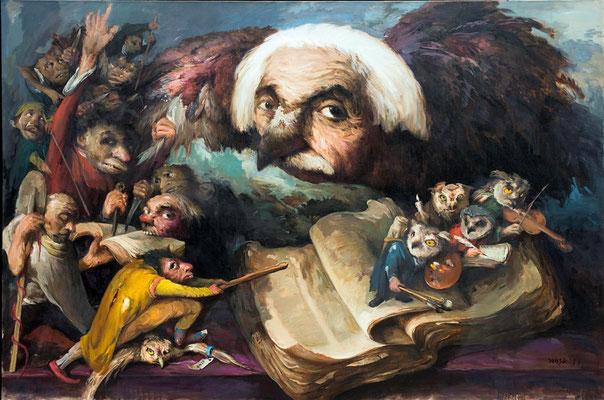 Yongbo Zhao: *Die Feinde der Weisheit II*, 2017, Öl/Leinwand, 160 x 240 cm